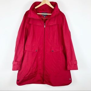 Cole Haan Long Rain Jacket Removable Hood Red